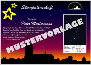 Urkunde Sternpatenschaft